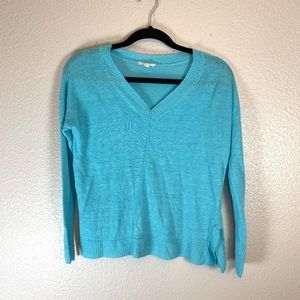 XS Teal Eileen Fisher V Neck Sweater